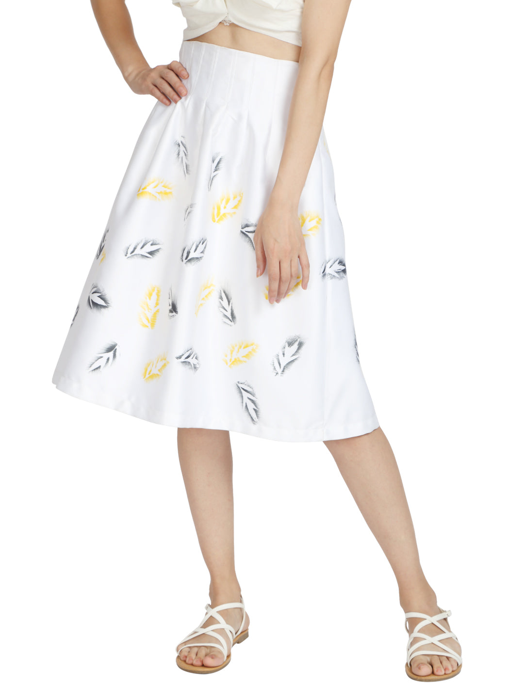 Skirt in Recycled Poly with Birch Tree Leaves