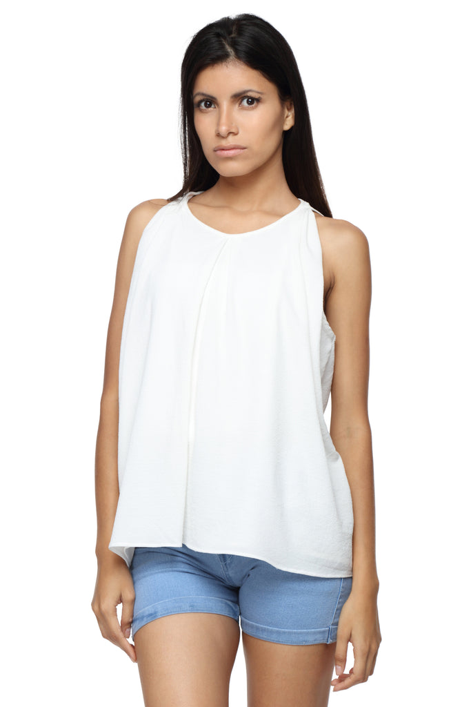 Pleated Balloon Top in White Georgette Front