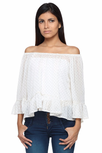 Cream Polkadot Off Shoulder Peasant Top Front