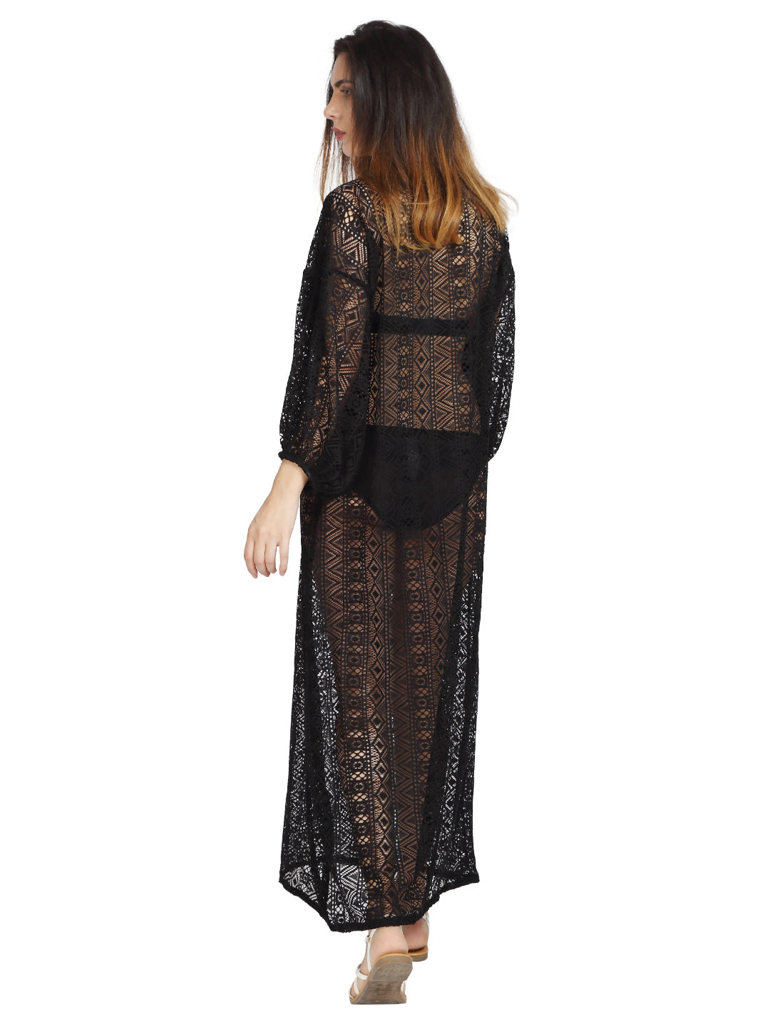 Black Lace Kaftan with Hand Done Embroidery