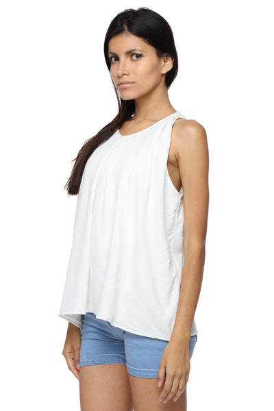 Pleated Balloon Top in White Georgette Side