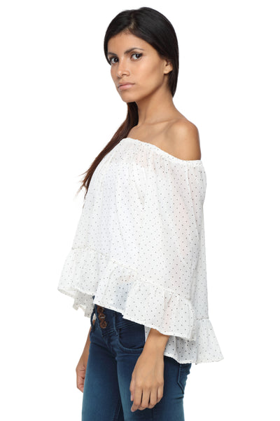Cream Polkadot Off Shoulder Peasant Top Side