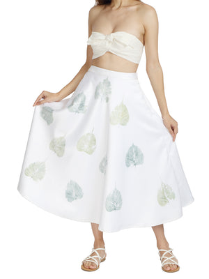 Skirt in Recycled Poly with Peepal Tree Leaves