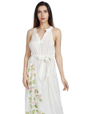 Halter Long Dress in Milk Fabric and Bougainvillea Print