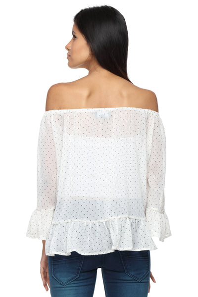 Cream Polkadot Off Shoulder Peasant Top Back