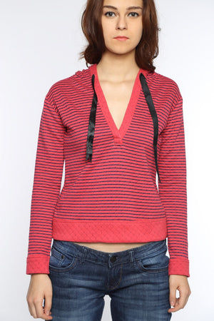 Pull Over Hoody in Pink Stripes Close Up