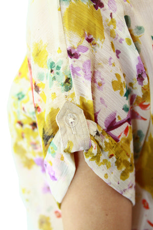Yellow Floral Print Tie Up Top Sleeve Detail