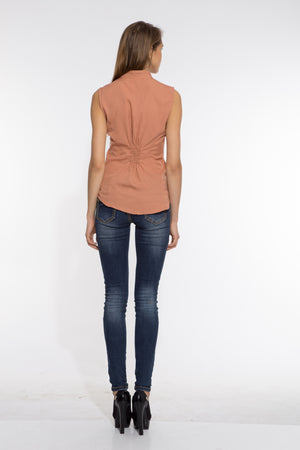 Shoulder Pin Tuck Top in Beige Back