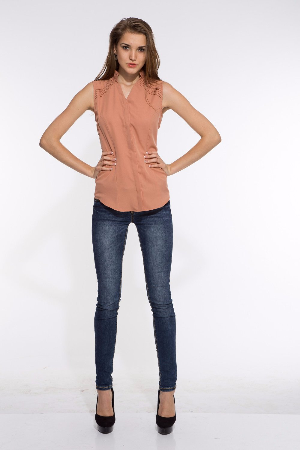 Shoulder Pin Tuck Top in Beige Front