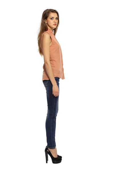 Shoulder Pin Tuck Top in Beige Side
