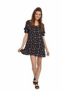 Black Floral Backbow Dress Front