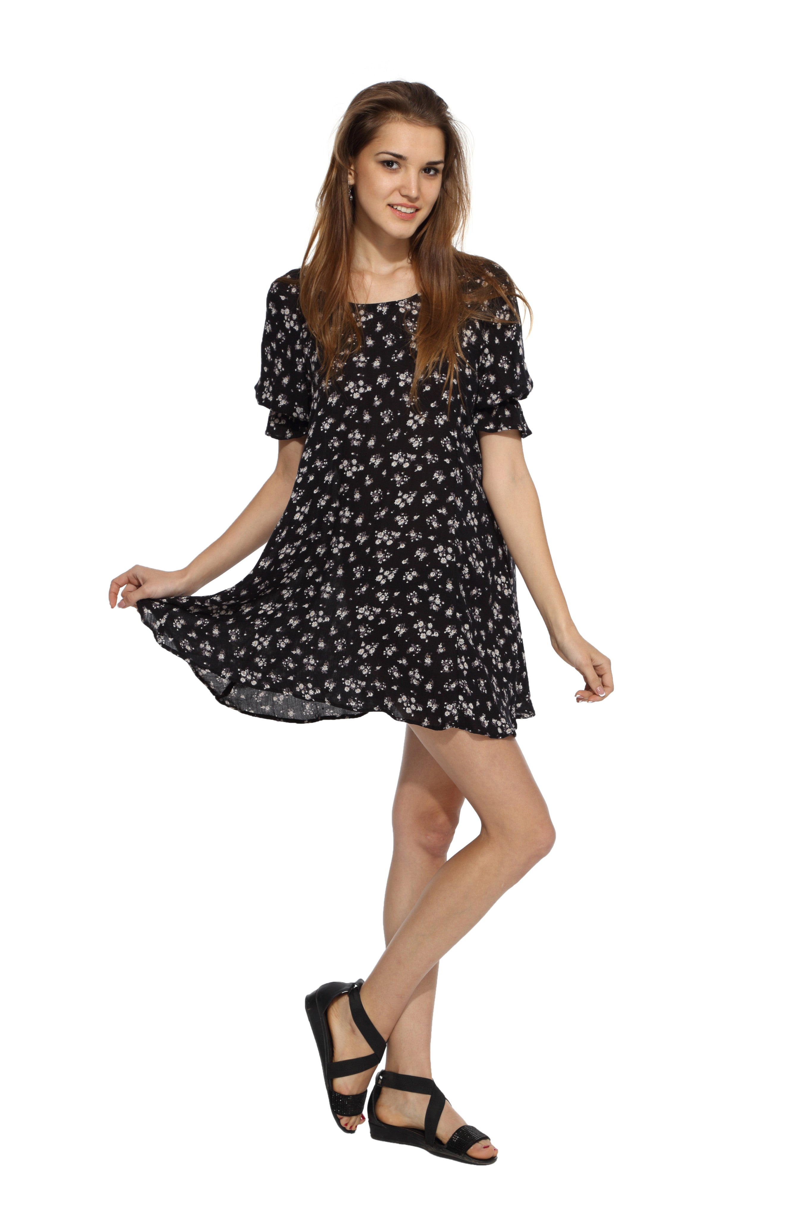 Black Floral Backbow Dress Side