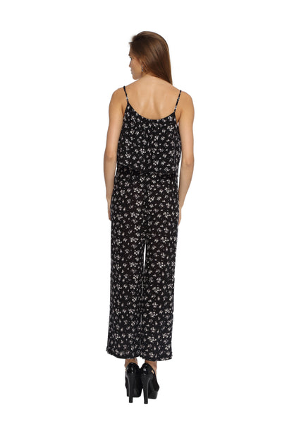 Black Floral Jumpsuit Back