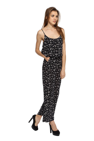 Black Floral Jumpsuit Side