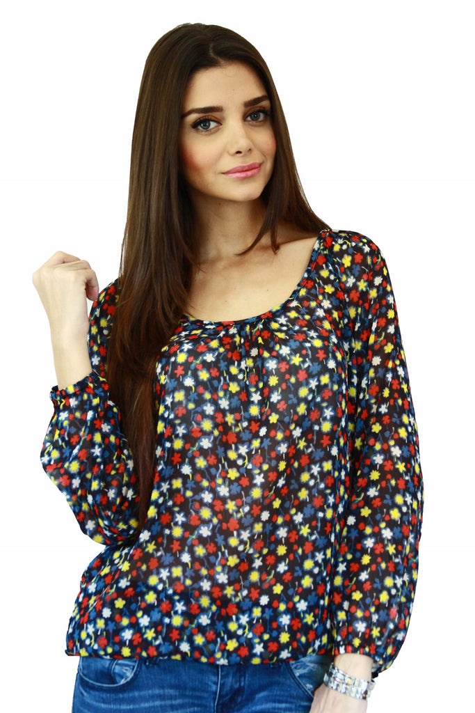 Floral Peasant Top Front