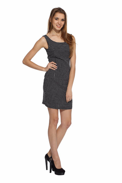 Black Graphic Shift Dress Front