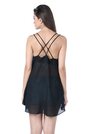 Black Georgette Top Back