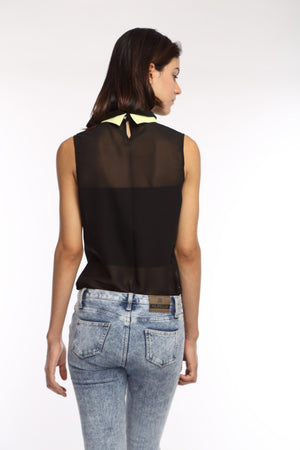 Black Double Collar Top Back