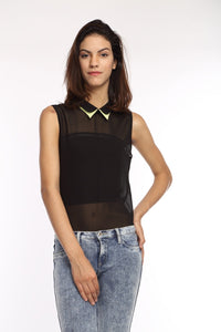 Black Double Collar Top Front