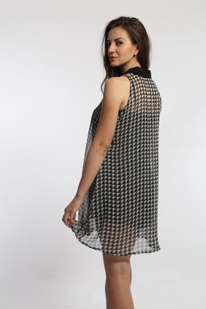 Houndstooth Pussy Bow Dress Side