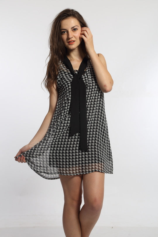 Houndstooth Pussy Bow Dress Front