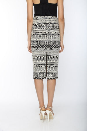 Black & White Pencil Skirt Back