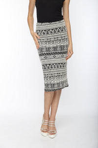 Black & White Pencil Skirt Front