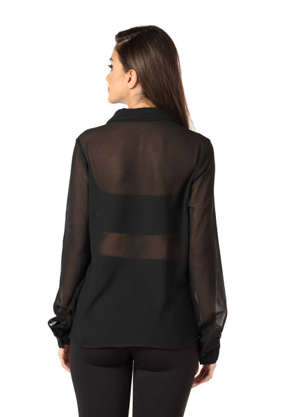 Black Front Cowl Top Back