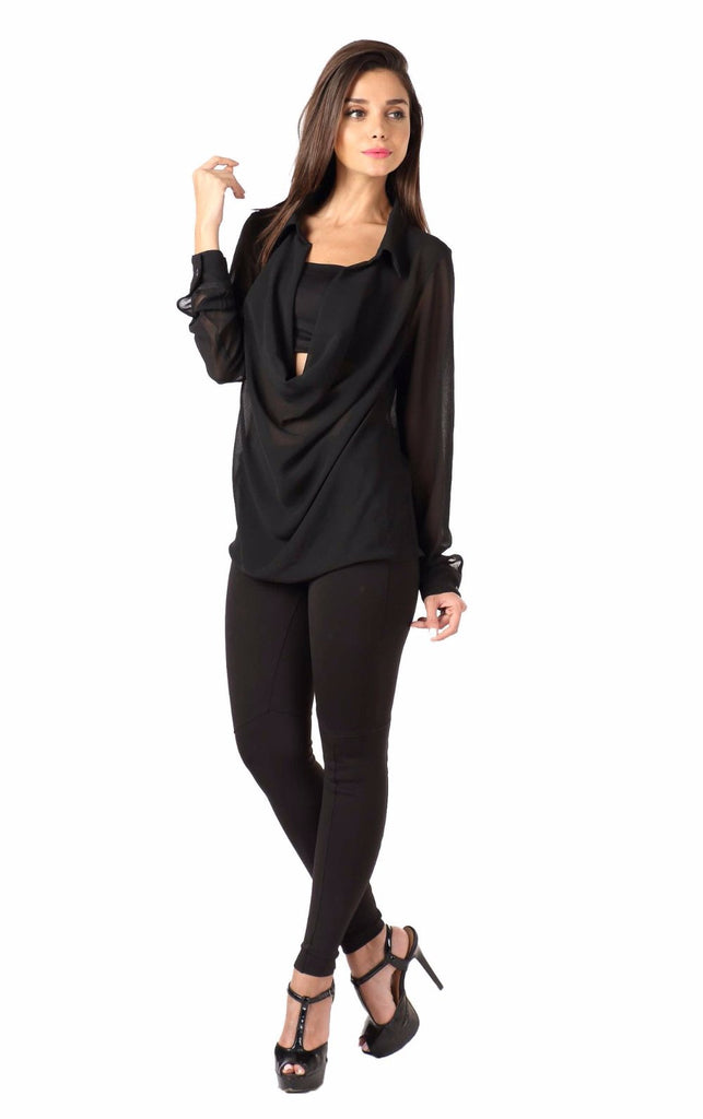 Black Front Cowl Top Front