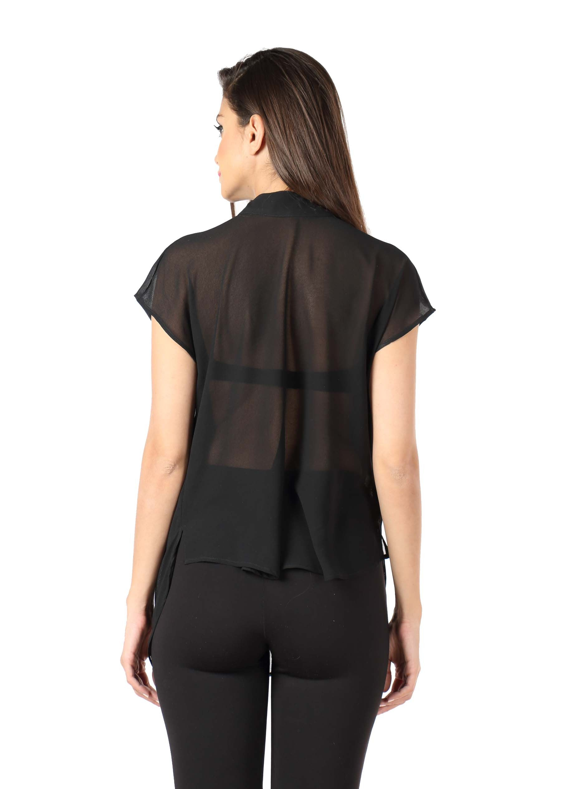 Black Reverse Cowl Top Back