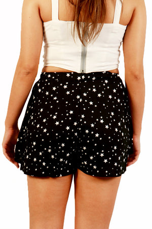 Black Star Pleated Shorts Back