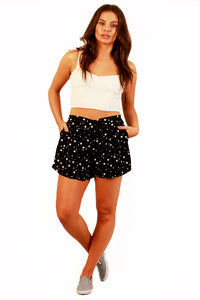 Black Star Pleated Shorts Front