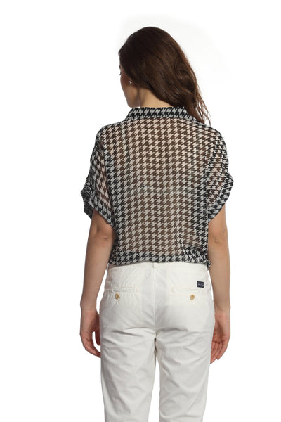 Black & White Houndstooth Tie Up Top Back