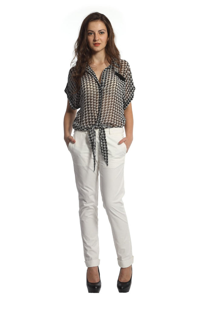 Black & White Houndstooth Tie Up Top Front