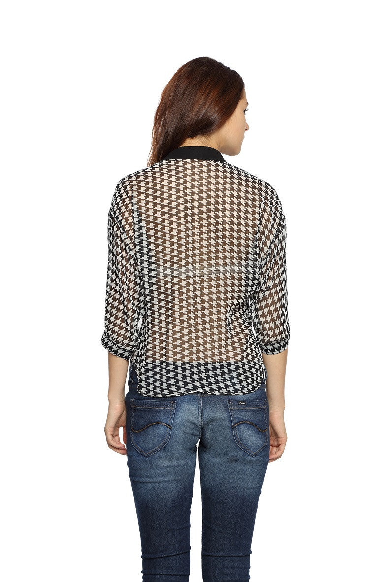 Houndstooth Crop Top Shirt Back