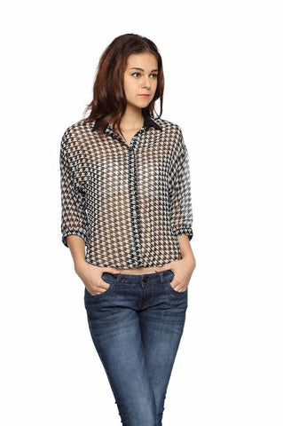 Houndstooth Crop Top Shirt Front