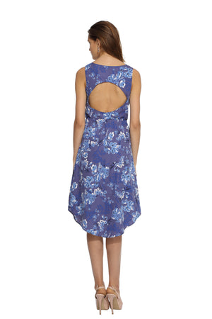 Blue Floral Dress Back