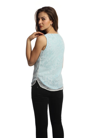 Blue Lining White Lace Top Back