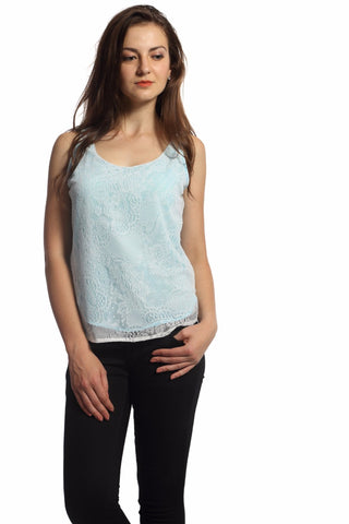 Blue Lining White Lace Top Front