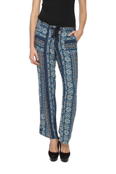 Blue Printed Harlem Pants Front
