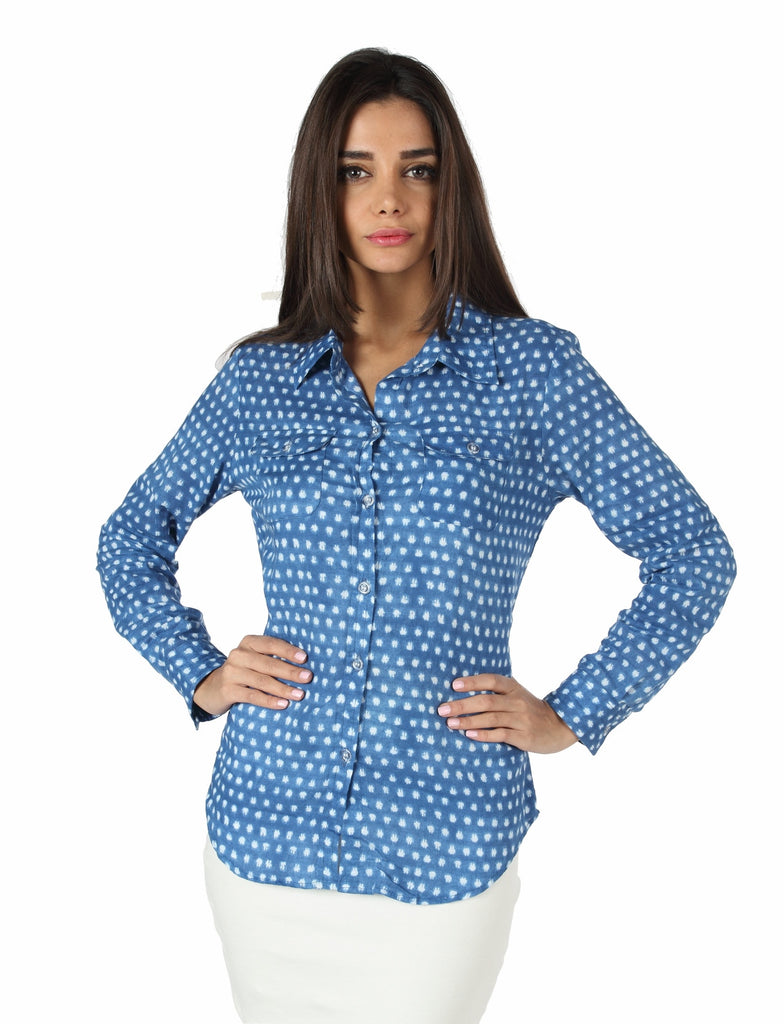 Light Blue Button Down Top Front