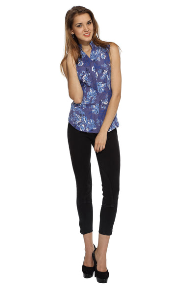 Shoulder Pin Tuck Top in Floral Print Front