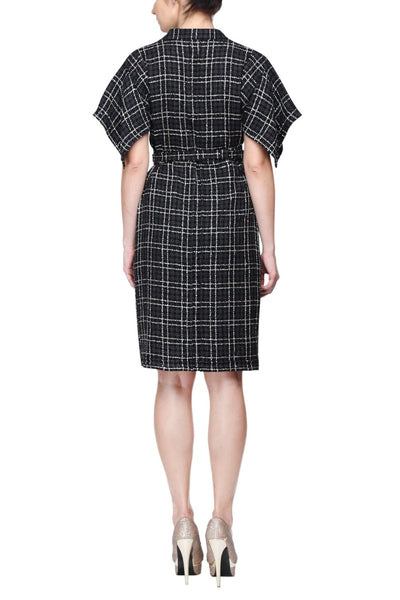 Black Checks Kimono Dress Back
