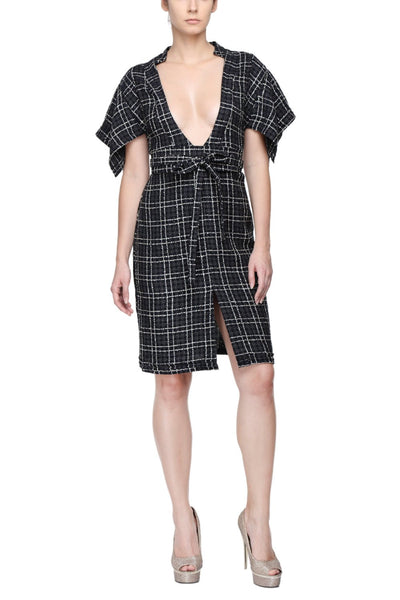 Black Checks Kimono Dress Front 1