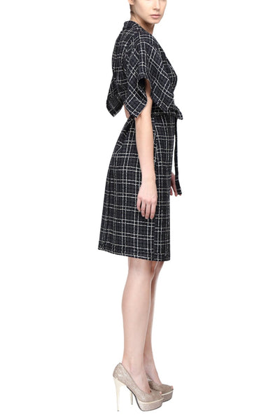 Black Checks Kimono Dress Side
