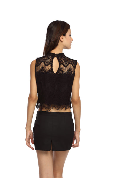 Black Lace High Neck Crop Top Back