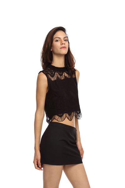 Black Lace High Neck Crop Top Side
