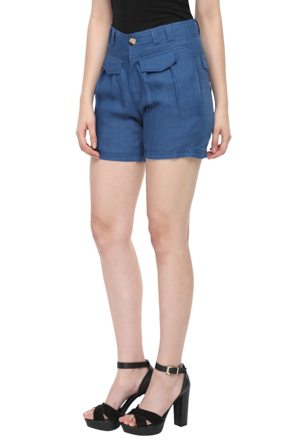 Blue Linen Highwaist Shorts Front