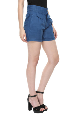 Blue Linen Highwaist Shorts Side