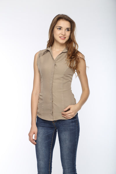 Shoulder Pin Tuck Top in Camel Front